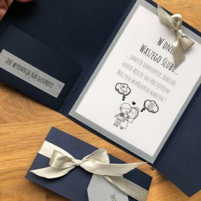 Kartka ślubna na wesoło, granat, wstążka, możliwa personalizacja