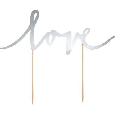 Elegancki topper Love, w kolorze srebrnym Wysokość ok. 17 cm.
