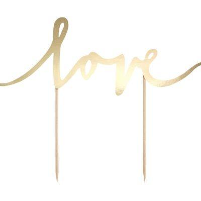 Elegancki topper Love, w kolorze złotym Wysokość ok. 17 cm.