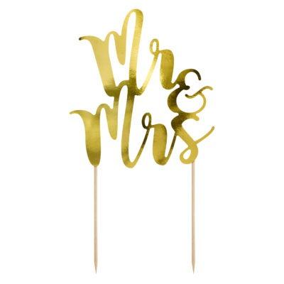 Topper Mr&Mrs, wykonany z papieru lustrzanego w kolorze złotym. Wysokość ok. 25,5 cm.