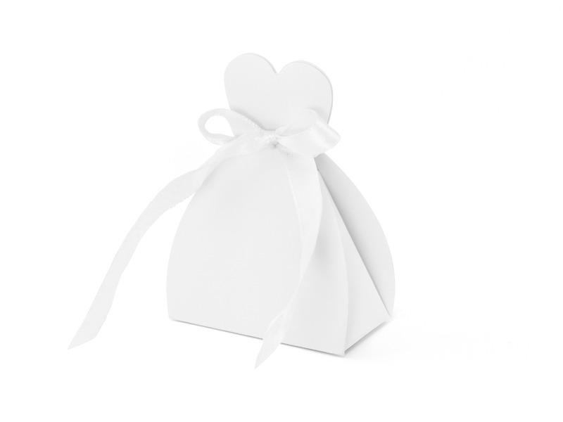 Pudełeczka wykonane z papieru w kolorze białym W zestawie tasiemka satynowa